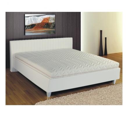 Manželská postel, ekokůže bílá, 160x200, Eman