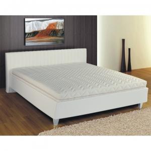 Manželská postel, ekokůže bílá, 160x200, Eman Tempo