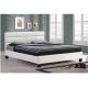 Manželská postel s roštem, 160x200, bílá textilní kůže Marius