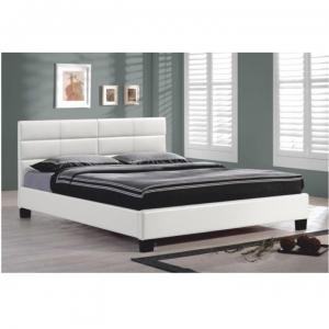 Manželská postel s roštem, 160x200, bílá textilní kůže Marius Tempo