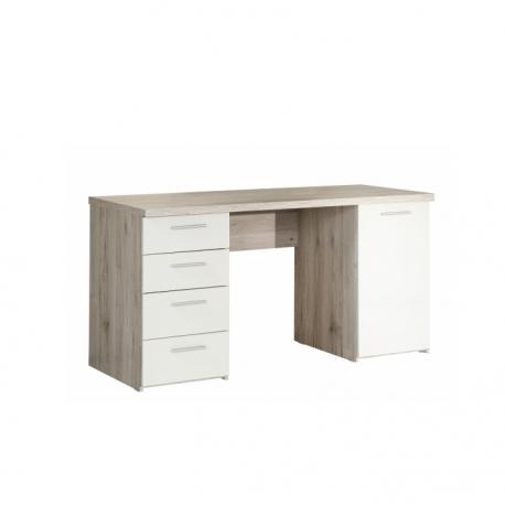 PC stůl VIA, dub pískový/bílá
