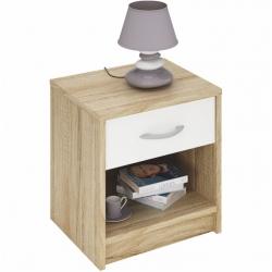 Noční stolek BIBI dub sonoma/bílá