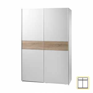 Dvoudveřová skříň VANDA 1 s posuvnými dveřmi, dub sonoma / bílá