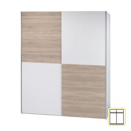 Dvoudveřová skříň VANDA 3 s posuvnými dveřmi, dub sonoma / bílá