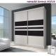 Dvoudveřová skříň MILA 2 bílá/černé sklo/bílá - výběr rozměrů