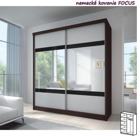 Dvoudveřová skříň MILA 3 dub cambridge/bílá/černé sklo/zrcadlo - výběr rozměrů