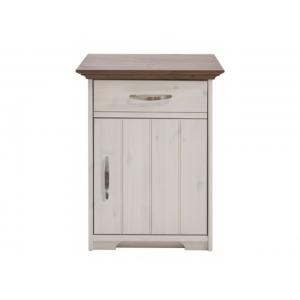 Noční stolek Hans - bílá/hnědá