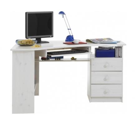 Rohový psací stůl Keren - bílá