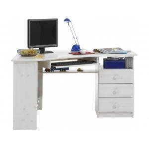 Rohový psací stůl Keren - bílá STE
