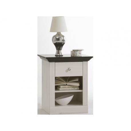 Noční stolek Moris - bílá/tmavě hnědá