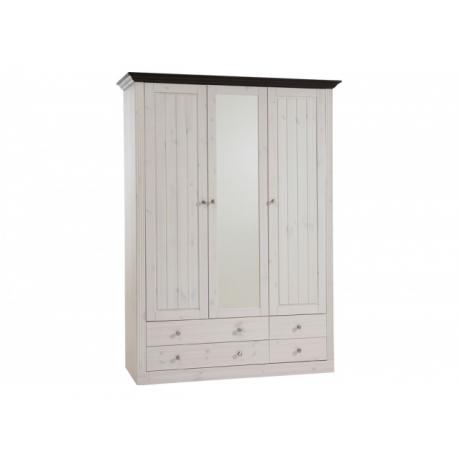Šatní skříň Moris 3D4S - bílá/tmavě hnědá