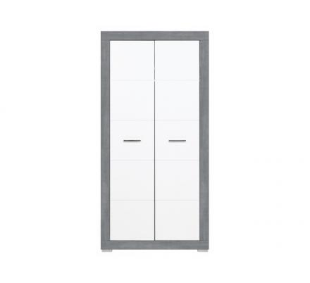 Dětská šatní skříň Julien 2D - bílá/šedá