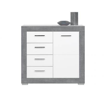 Dětská komoda Julien 1D4S - bílá/šedá