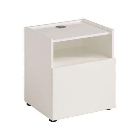 Noční stolek s nabíječkou Leona - bílý lesk
