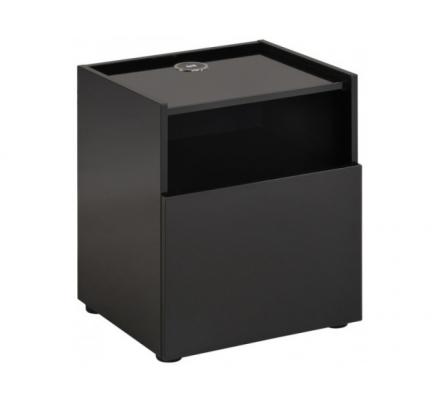 Noční stolek s nabíječkou Leona - černý lesk