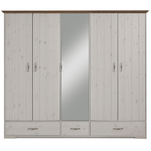 Šatní skříň Hans 4D - bílá/hnědá
