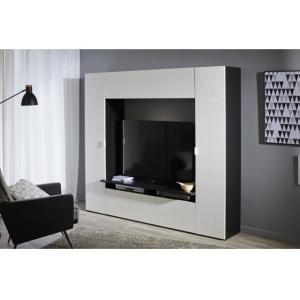 Televizní stěna Frank - bílý lesk/černá