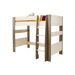 Vyvýšená postel Dash II 90x200 cm bilá/hnědá