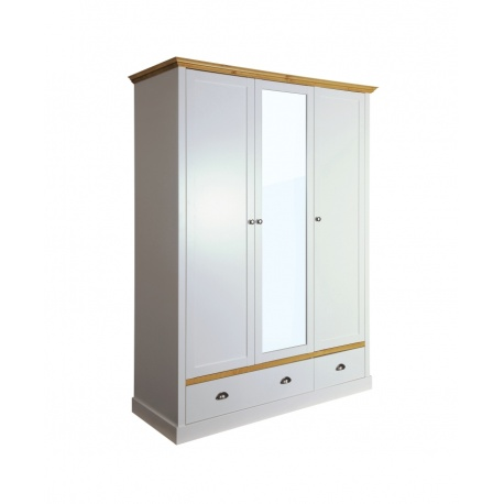 Šatní skříň Toskania 3D2S - světle šedá/přírodní