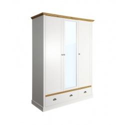 Šatní skříň Toskania 3D2S - bílá/přírodní