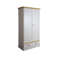 Šatní skříň Toskania 2D1S - světle šedá/přírodní