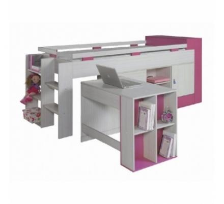 Vyvýšená postel s psacím stolem a skříní Adéla - růžová