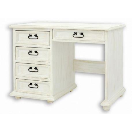 Bílý psací stůl z masivu 02 - selský nábytek