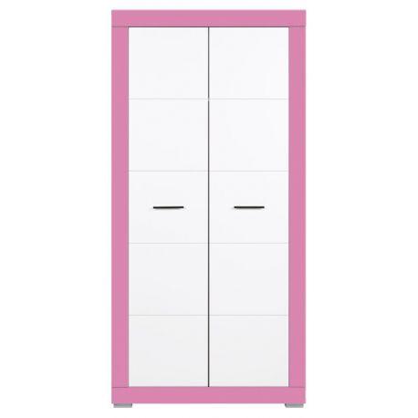 Dětská šatní skříň Julien 2D - bílá/růžová