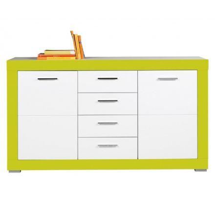 Dětská komoda Julien 2D4S - bílá/zelená