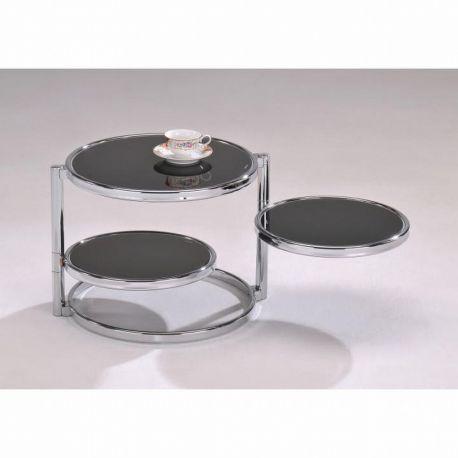 Kulatý konferenční stolek chrom/černé sklo T-31