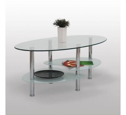 Oválný skleněný konferenční stolek T-27