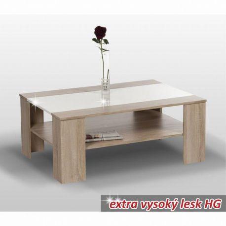 Konferenční stolek dub sonoma/bílá lesk T-04