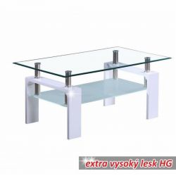 Konferenční stolek bílý lesk T-03
