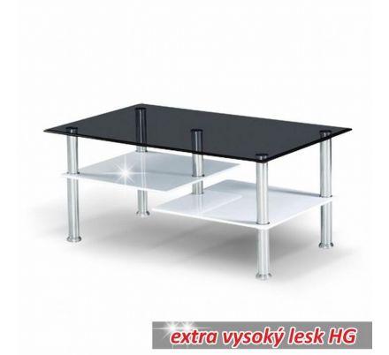 Konferenční stolek bílý lesk/sklo T-02