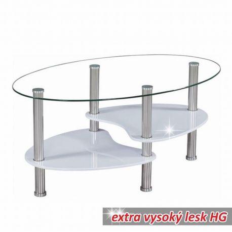 Konferenční stolek bílý lesk/sklo/ocel T-01