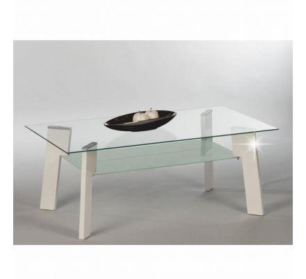 Konferenční stolek bílý lesk/sklo/ocel T-07