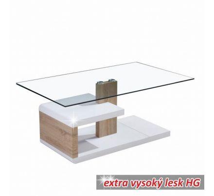 Konferenční stolek bílý lesk/sklo/dub sonomaT-08