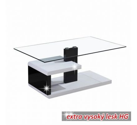 Konferenční stolek bílo černý lesk T-09