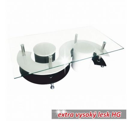 Designový konferenční stolek vysoký lesk bílá/černá T-16