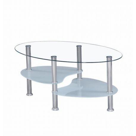 Konferenční stolek sklo čiré, mléčné/ocel T-21