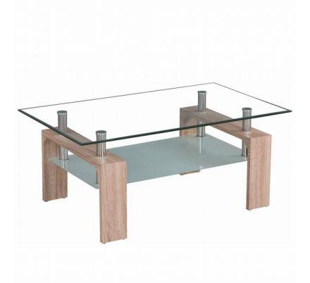 Konferenční stolek dub sonoma / sklo T-23