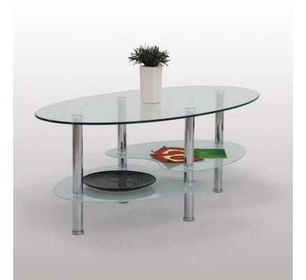 Konferenční stolek chrom/sklo T-26
