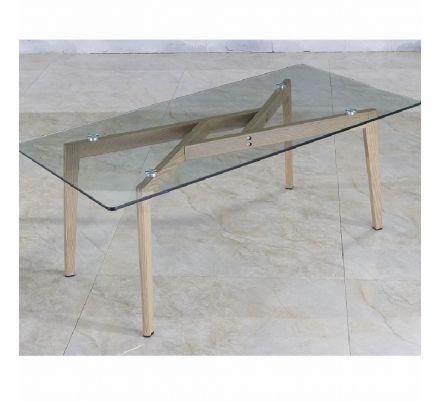 Konferenční stolek sklo / kov s úpravou buk T-40