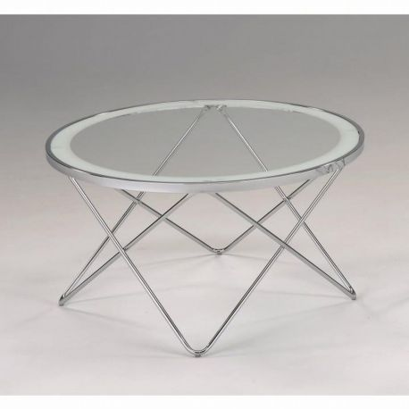 Kulatý konferenční stolek sklo / chrom T-41