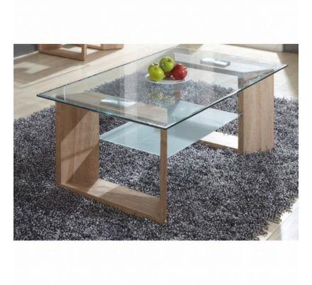Konferenční stolek dub+sklo T-44