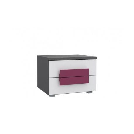 Noční stolek Polo - šedá/bílá/fialová