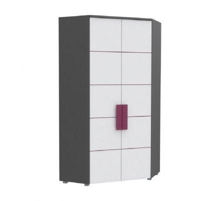 Šatní skříň rohová Polo - šedá/bílá/fialová