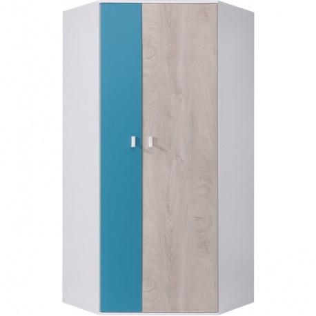 Rohová skříň šatní PHILOSOPHY - bílá / modrá P/L