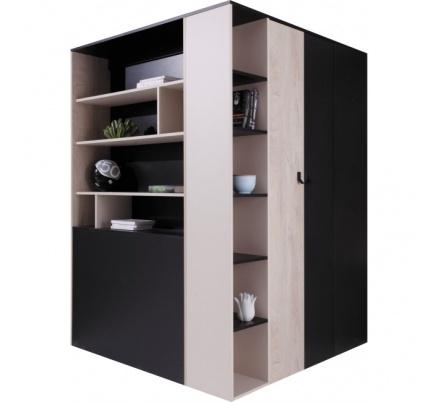 Šatní skříň kombinovaná PHILOSOPHY - černá / béžová L/P