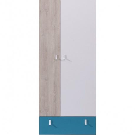 Šatní skříň studentská PHILOSOPHY - bílá / modrá